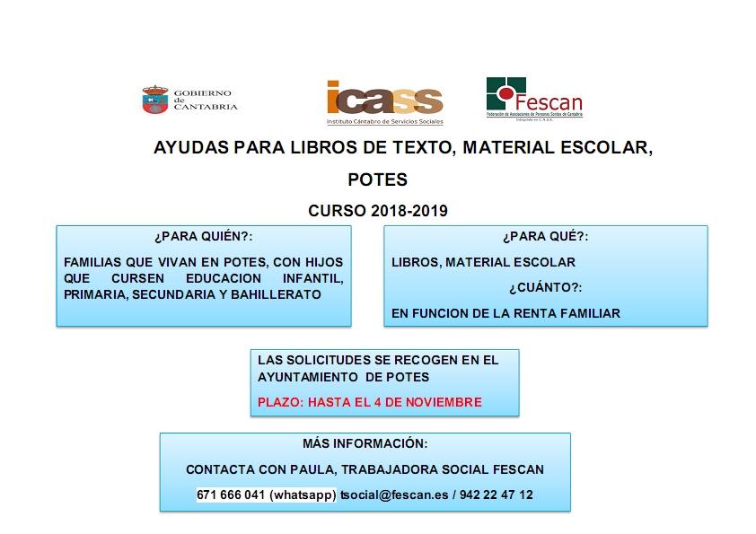 AYUDAS PARA LIBROS DE TEXTO Y MATERIAL ESCOLAR EN POTES CURSO 2018-2019