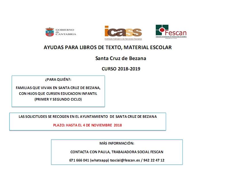 AYUDAS PARA LIBROS DE TEXTO Y MATERIAL ESCOLAR EN SANTA CRUZ DE BEZANA CURSO 2018-2019