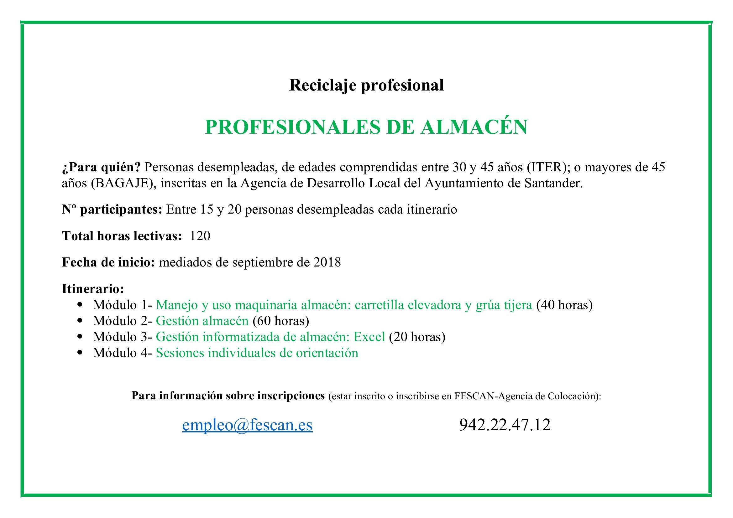 RECICLAJE PROFESIONAL: PROFESIONALES DE ALMACÉN