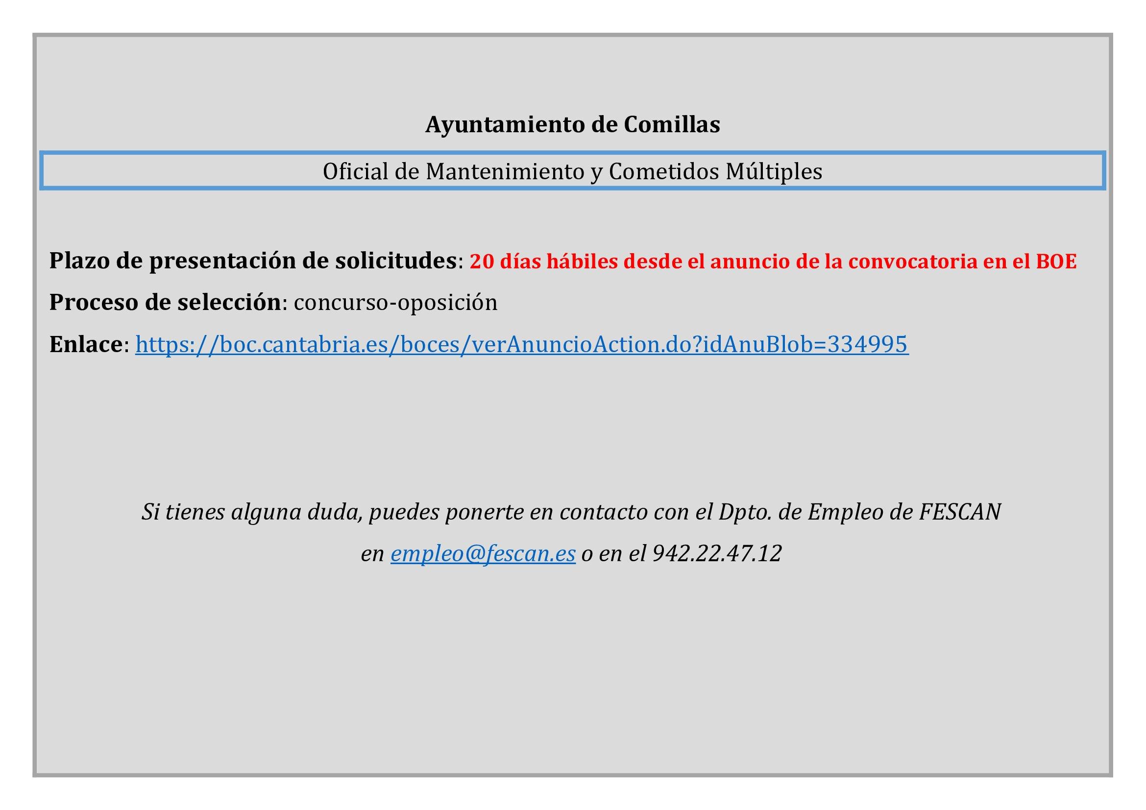 CONVOCATORIA PLAZA DE OFICIAL DE MANTENIMIENTO Y COMETIDOS MÚLTIPLES
