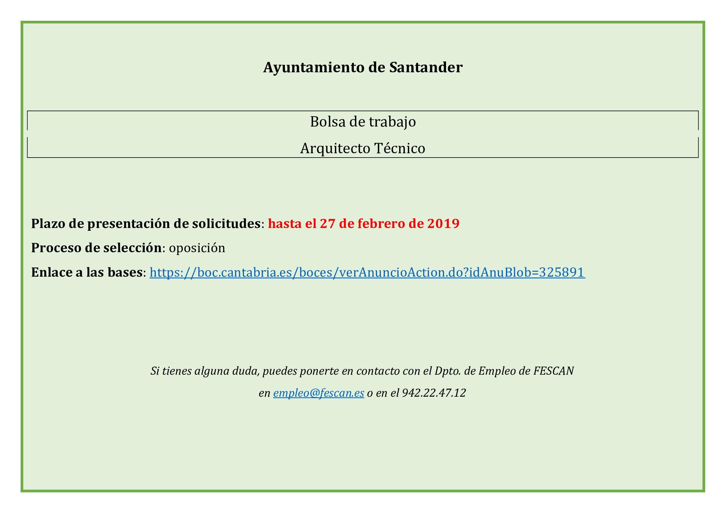 BOLSA DE TRABAJO ARQUITECTURA TÉCNICA DEL AYUNTAMIENTO DE SANTANDER