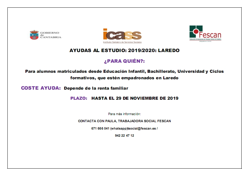 AYUDAS AL ESTUDIO LAREDO 2019/2020