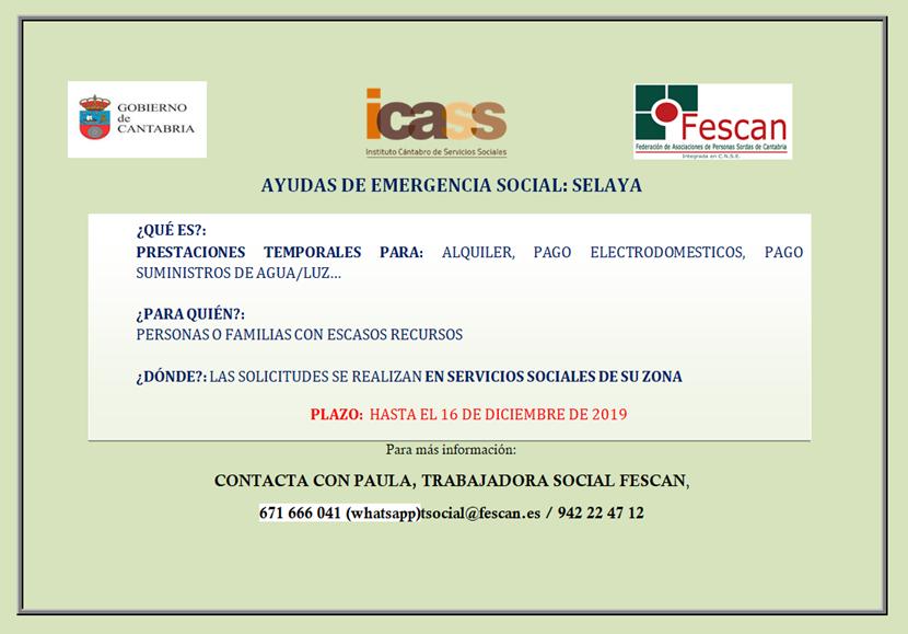 AYUDAS EMERGENCIA SOCIAL EN SELAYA
