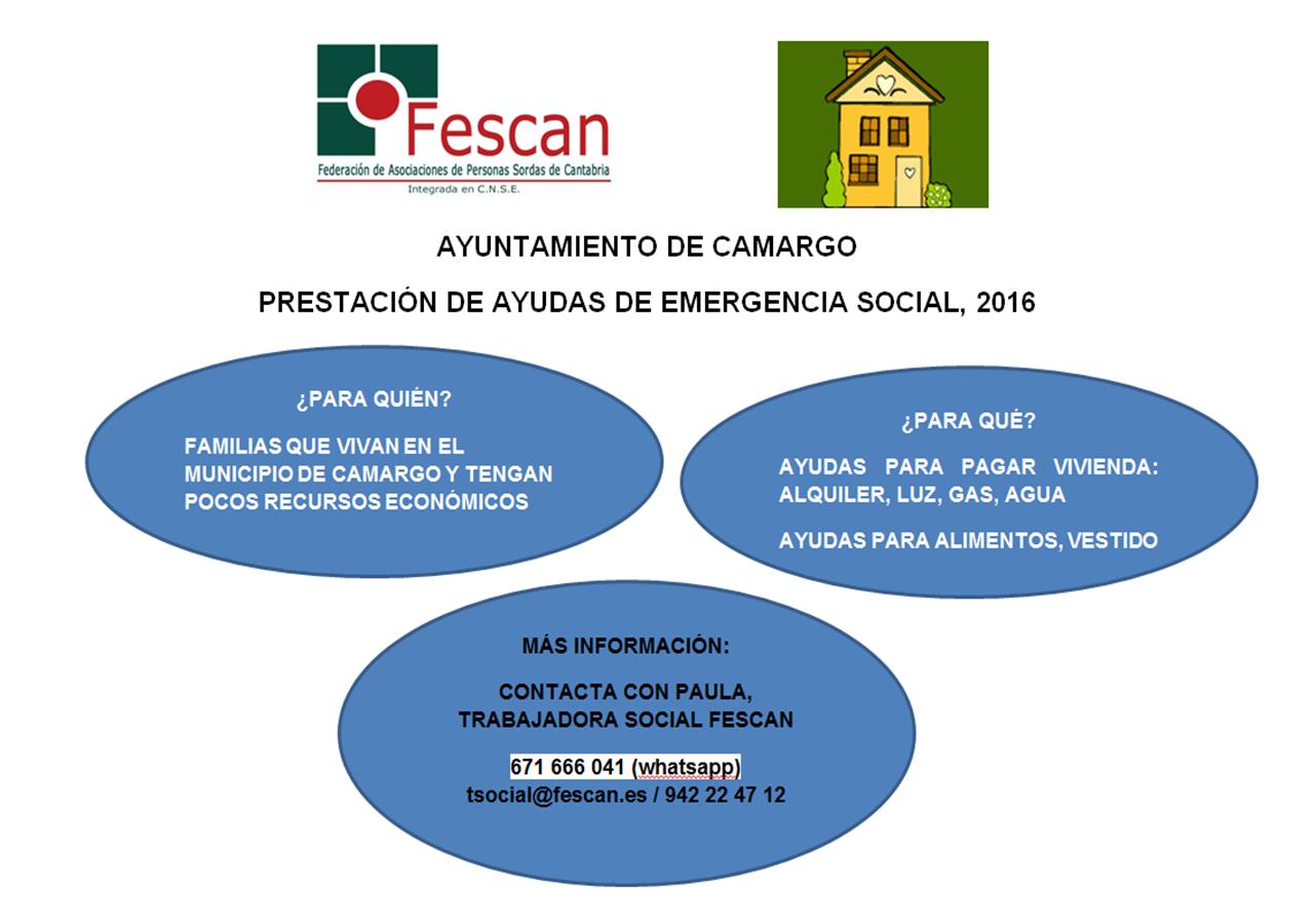 AYUDAS EMERGENCIA SOCIAL CAMARGO 2016