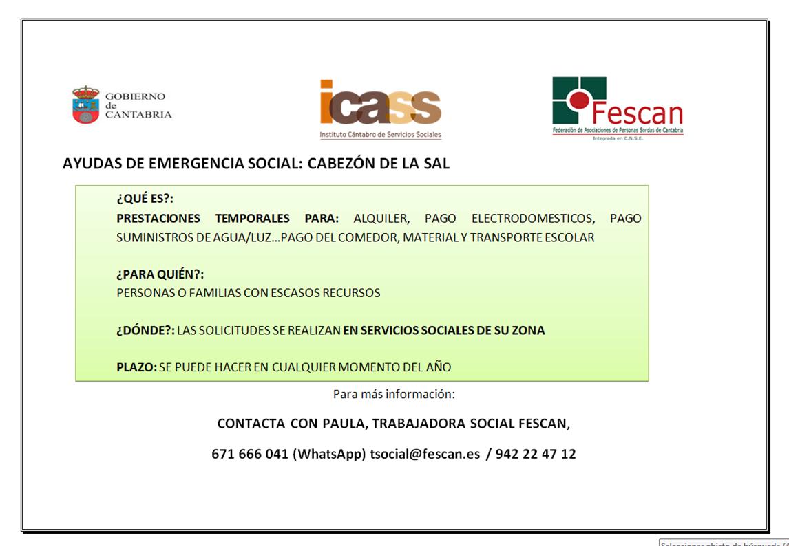 AYUDAS EMERGENCIA SOCIAL CABEZÓN DE LA SAL