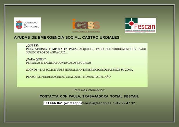 AYUDAS DE EMERGENCIA SOCIAL EN CASTRO URDIALES