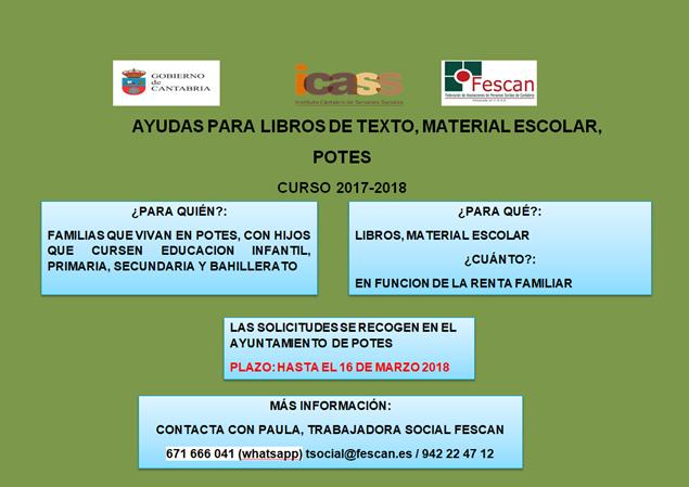 AYUDAS PARA MATERIAL ESCOLAR Y LIBROS DE TEXTO EN POTES