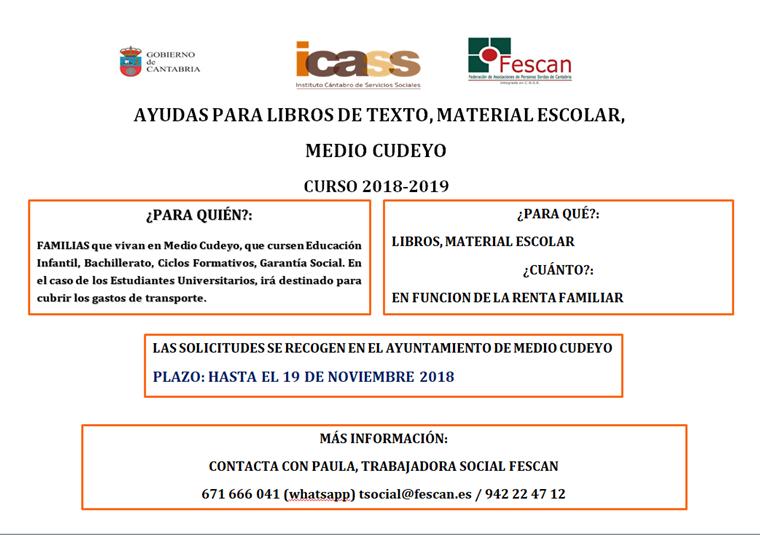 AYUDAS PARA LIBROS DE TEXTO Y MATERIAL ESCOLAR EN EL AYUNTAMIENTO DE MEDIO CUDEYO