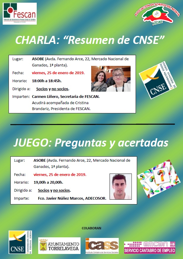 CHARLA SOBRE FUNCIONAMIENTO DE LA CNSE Y JUEGO DE PREGUNTAS ESTE PRÓXIMO VIERNES EN ASOBE