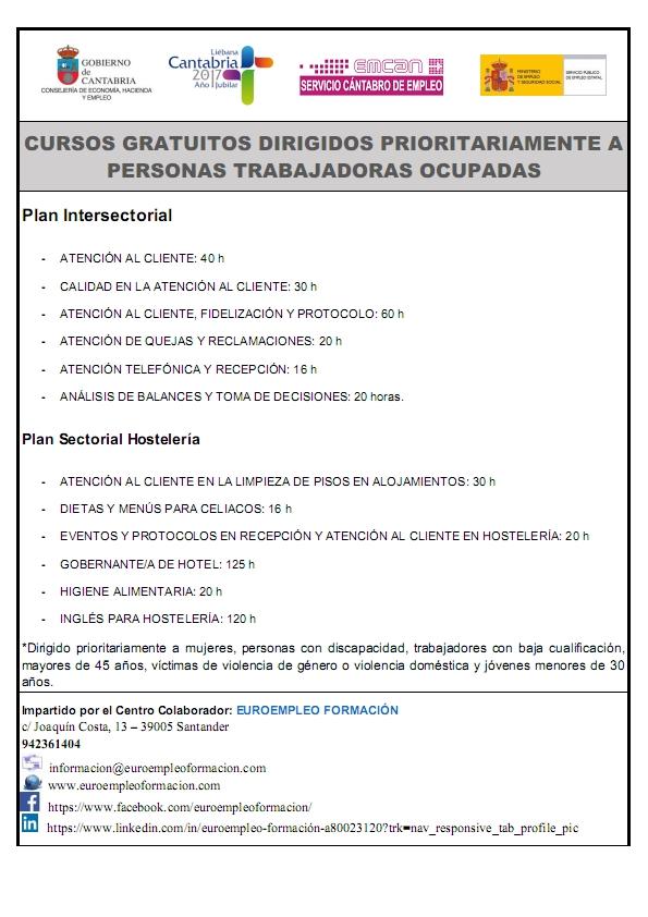 CURSOS GRATUITOS DIRIGIDOS PRIORITARIAMENTE A PERSONAS TRABAJADORAS OCUPADAS