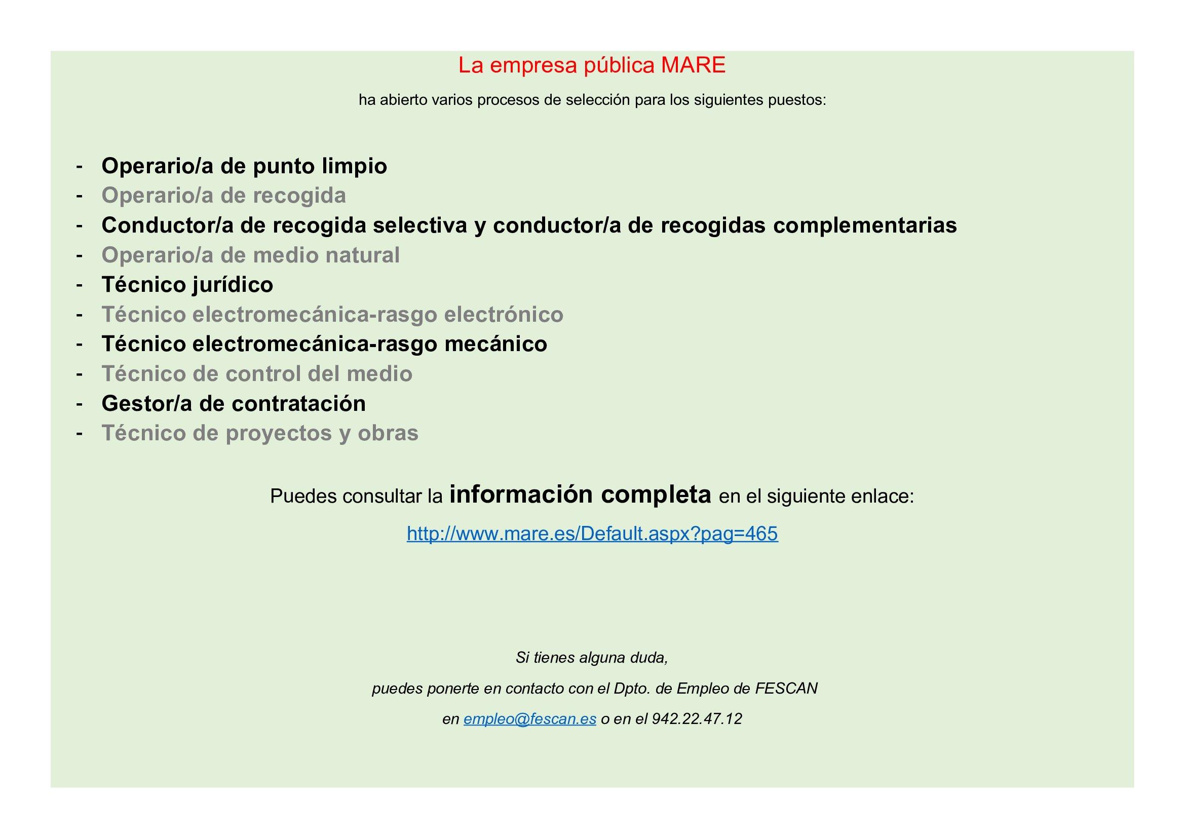 PROCESO DE SELECCIÓN DE LA EMPRESA MARE