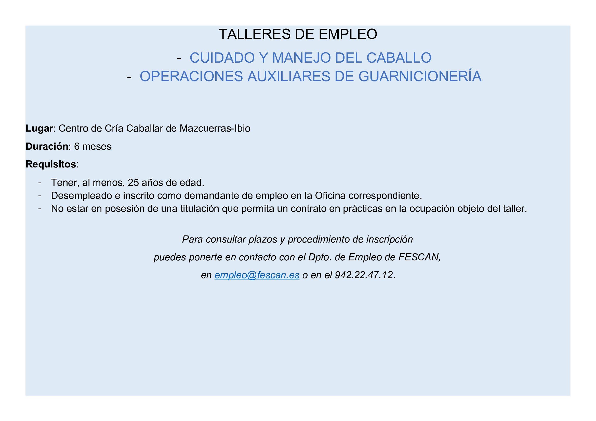 NUEVOS TALLERES DE EMPLEO EN EL CENTRO DE CRÍA CABALLAR DE MAZCUERRAS