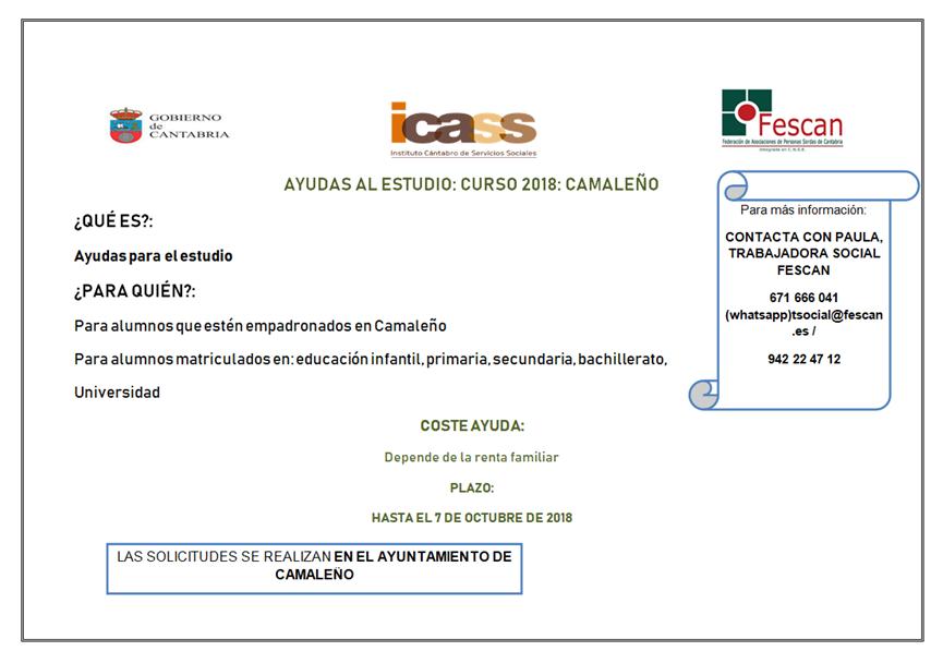 AYUDAS AL ESTUDIO EN LOS AYUNTAMIENTOS DE CAMALEÑO Y PIÉLAGOS 2018
