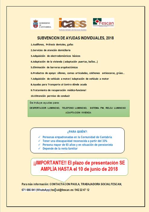 AMPLIACIÓN DEL PLAZO DE LAS AYUDAS INDIVIDUALES 2018