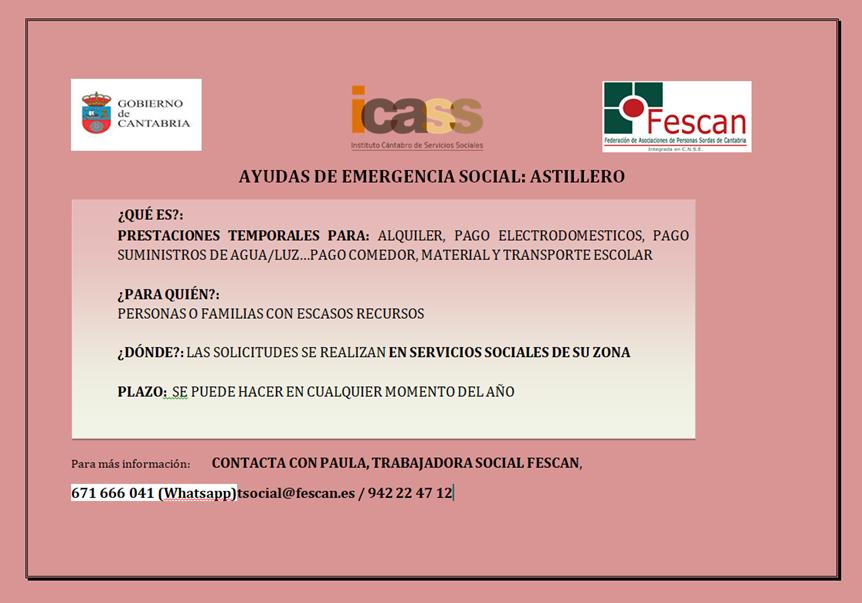 AYUDAS EMERGENCIA SOCIAL ASTILLERO