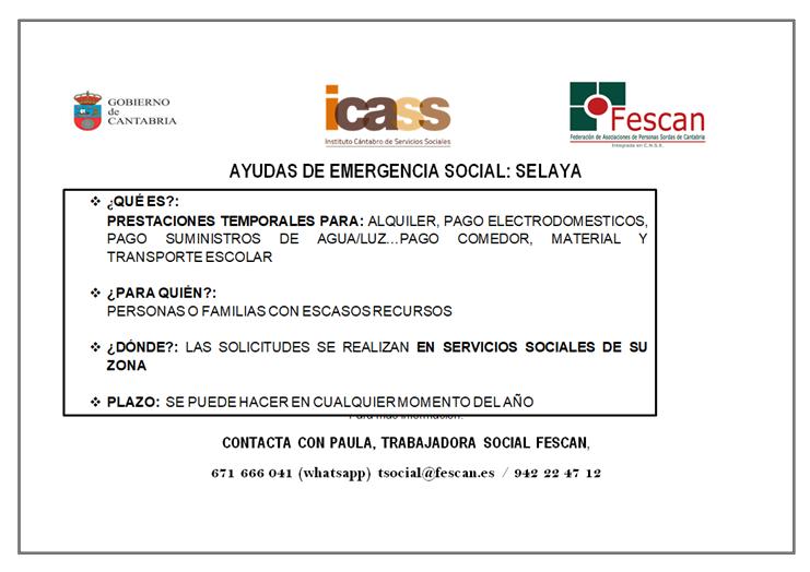 AYUDAS DE EMERGENCIA SOCIAL 2018: LIENDO Y SELAYA