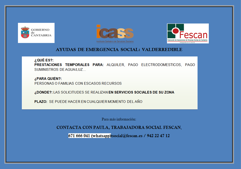 AYUDAS DE EMERGENCIA SOCIAL: VALDERREDIBLE