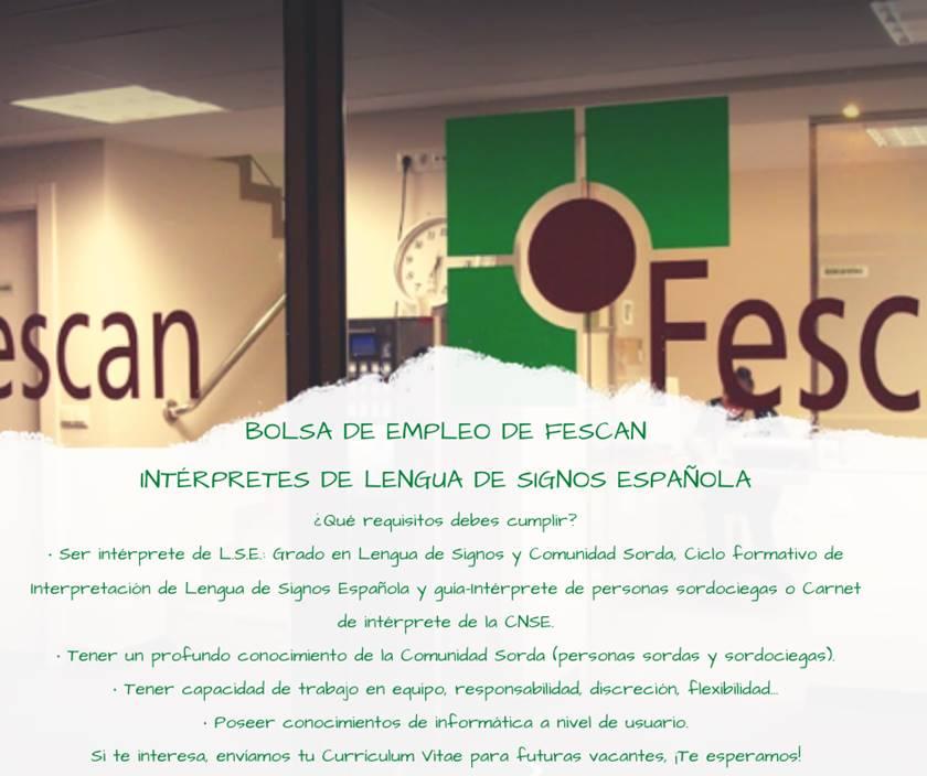 BOLSA DE EMPLEO DE FESCAN: INTÉRPRETES DE LENGUA DE SIGNOS ESPAÑOLA