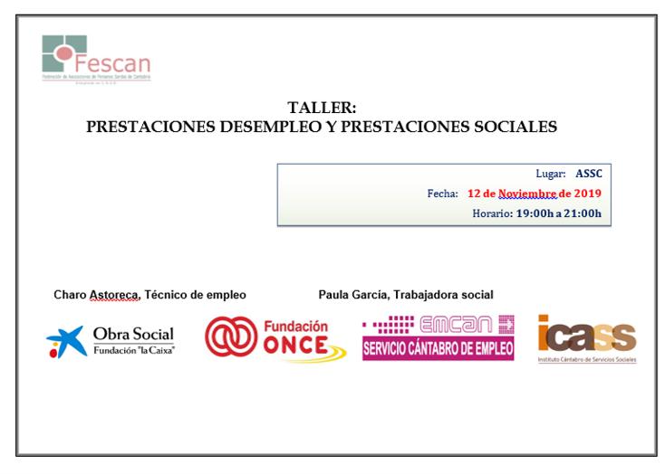 TALLER EN LA ASSC: BÚSQUEDA ACTIVA DE EMPLEO, PRESTACIONES DE DESEMPLEO Y PRESTACIONES SOCIALES