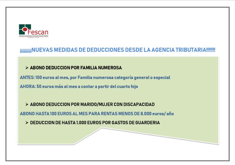 NUEVAS MEDIDAS/DEDUCCIONES AGENCIA TRIBUTARIA