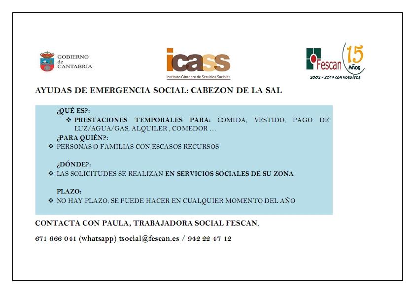 AYUDAS DE EMERGENCIA SOCIAL: CABEZÓN DE LA SAL