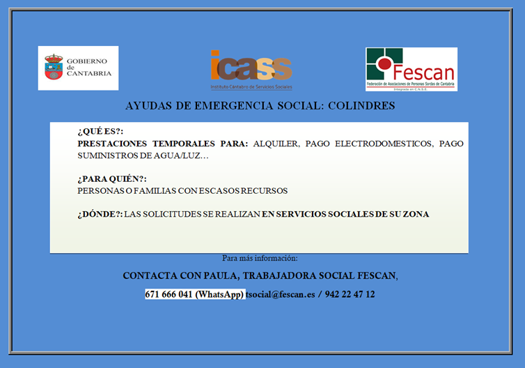 AYUDAS DE EMERGENCIA SOCIAL COLINDRES