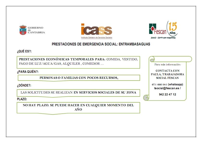 AYUDAS DE EMERGENCIA SOCIAL DE ENTRAMBSAGUAS