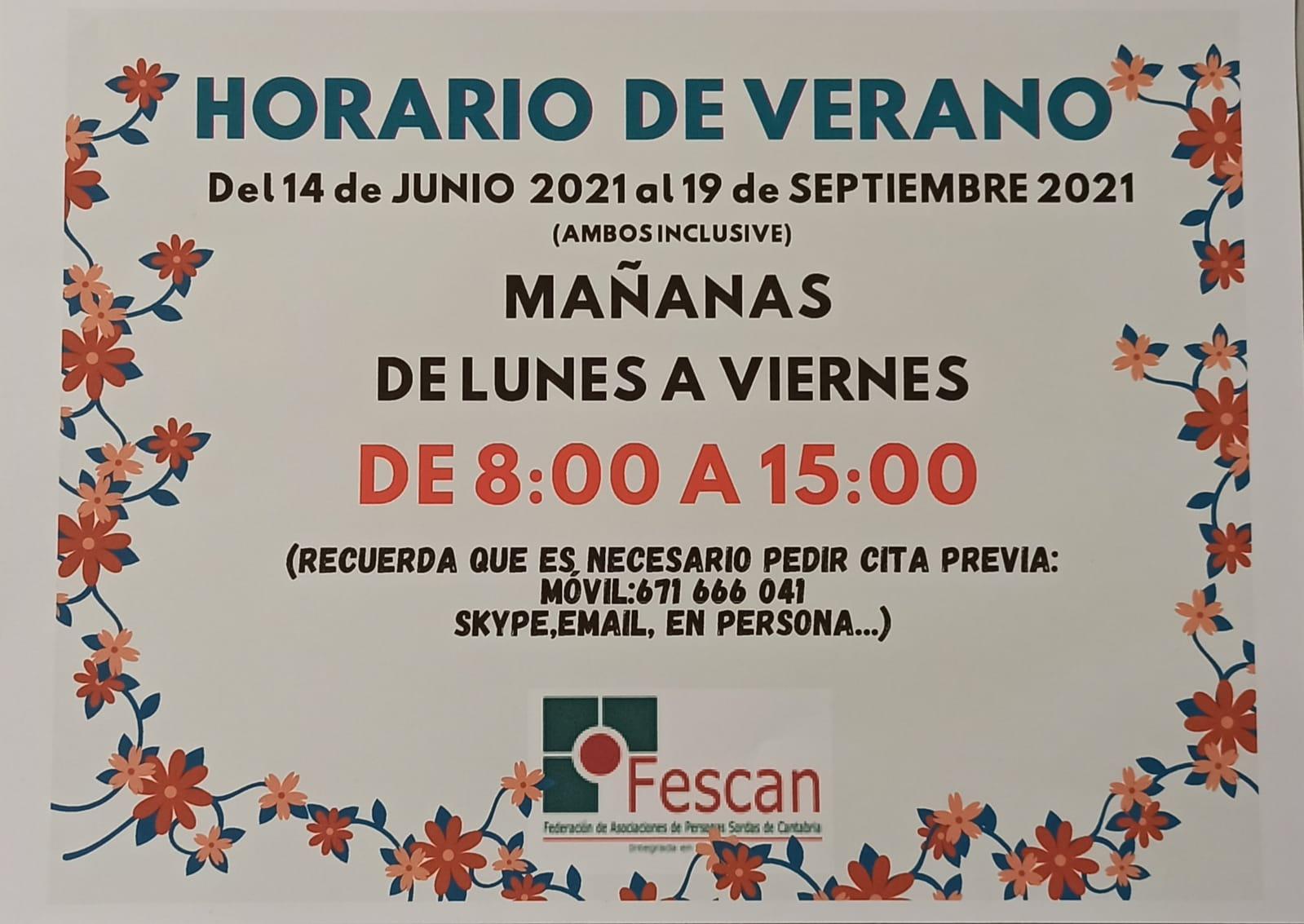 HORARIO DE VERANO DE FESCAN  2021