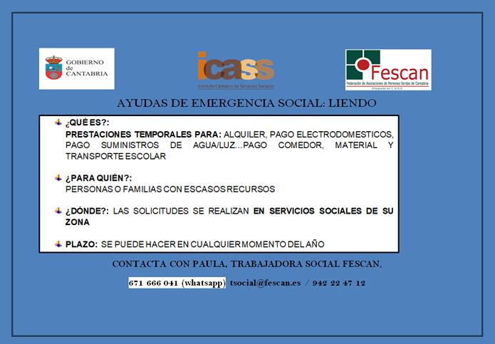 AYUDAS DE EMERGENCIA SOCIAL: LIENDO