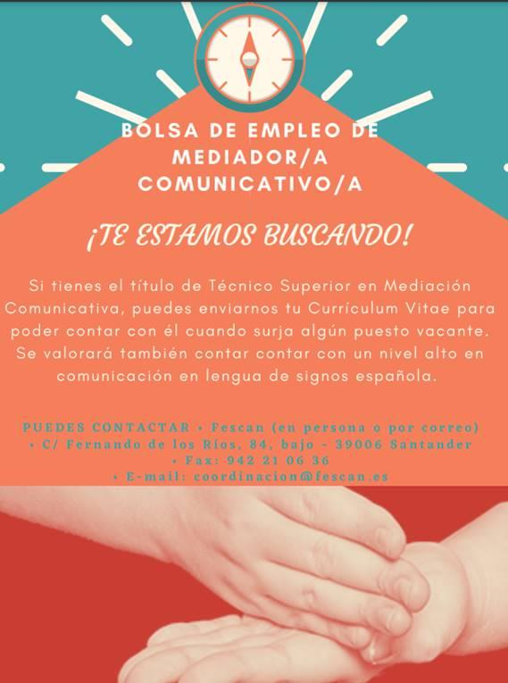 BOLSA DE EMPLEO DE FESCAN: MEDIADOR/A COMUNICATIVO/A