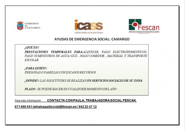 Ayudas emergencia social camargo