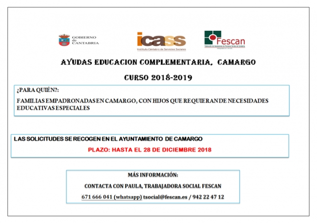 Ayudas especiales Camargo