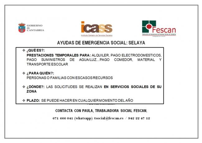 ayudas emergencia social selaya