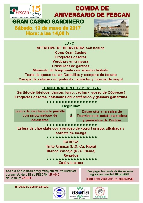 COMIDA XV ANIVERSARIO DE FESCAN