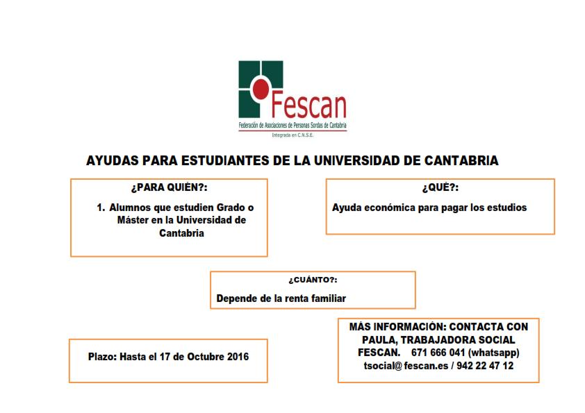 BECAS PARA ALUMNOS DE LA UNIVERSIDAD DE CANTABRIA 2016-2017