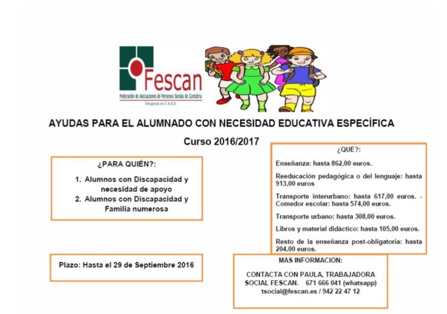 AYUDAS AL ALUMNADO CON NECESIDAD EDUCATIVA ESPECÍFICA  2016-2017
