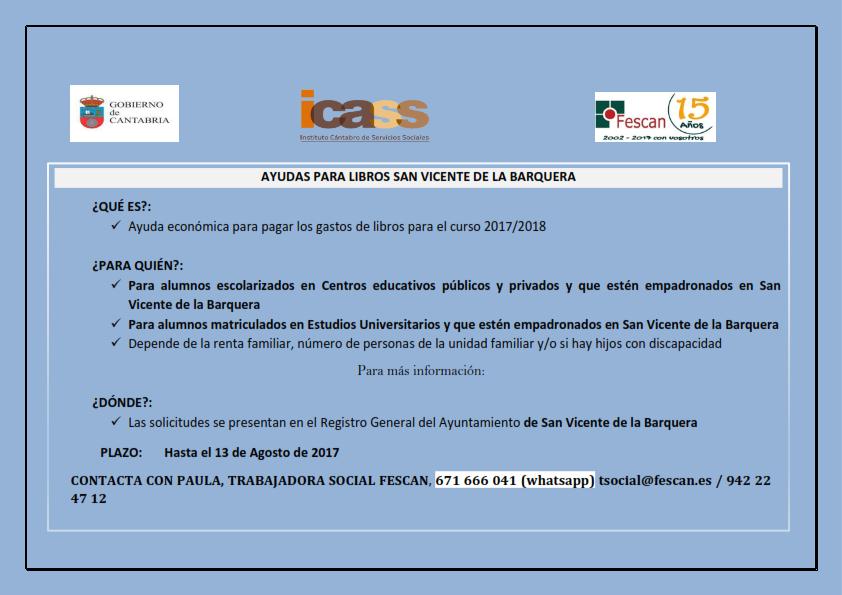 AYUDAS PARA LIBROS DE TEXTO CURSO 2017/2018 EN SAN VICENTE DE LA BARQUERA