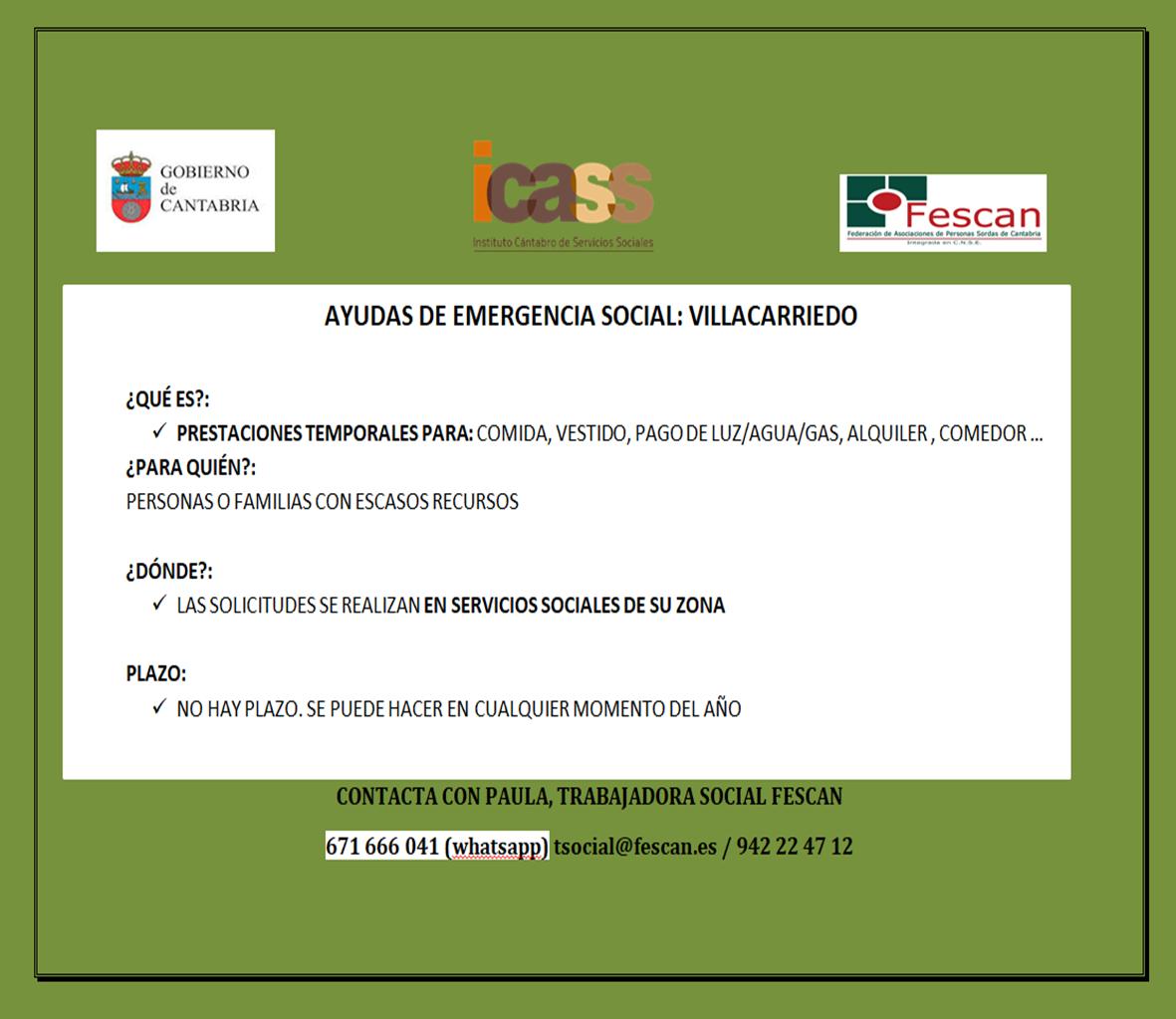 AYUDAS EMERGENCIA SOCIAL: VILLACARRIEDO