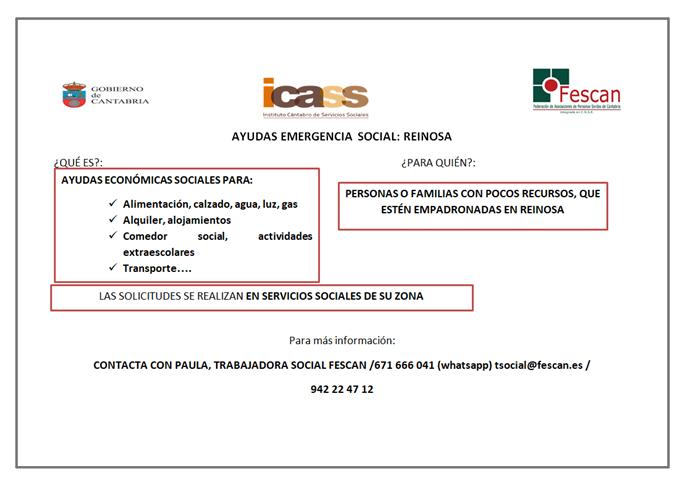 AYUDAS EMERGENCIA SOCIAL REINOSA