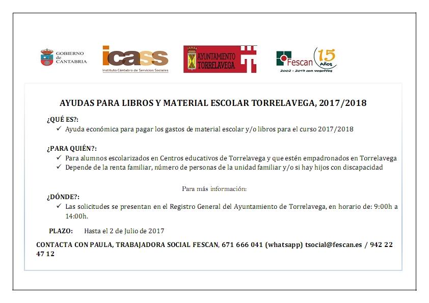 AYUDAS PARA LIBROS Y MATERIAL ESCOLAR  DEL AYUNTAMIENTO DE TORRELAVEGA