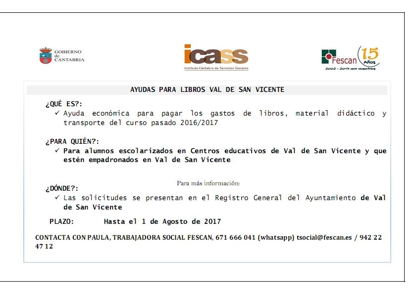 AYUDAS PARA LIBROS, MATERIAL DIDÁCTICO Y TRANSPORTE  DE VAL DE SAN VICENTE 2017