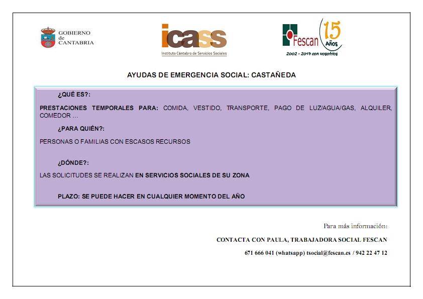 AYUDAS DE EMERGENCIA SOCIAL EN CASTAÑEDA
