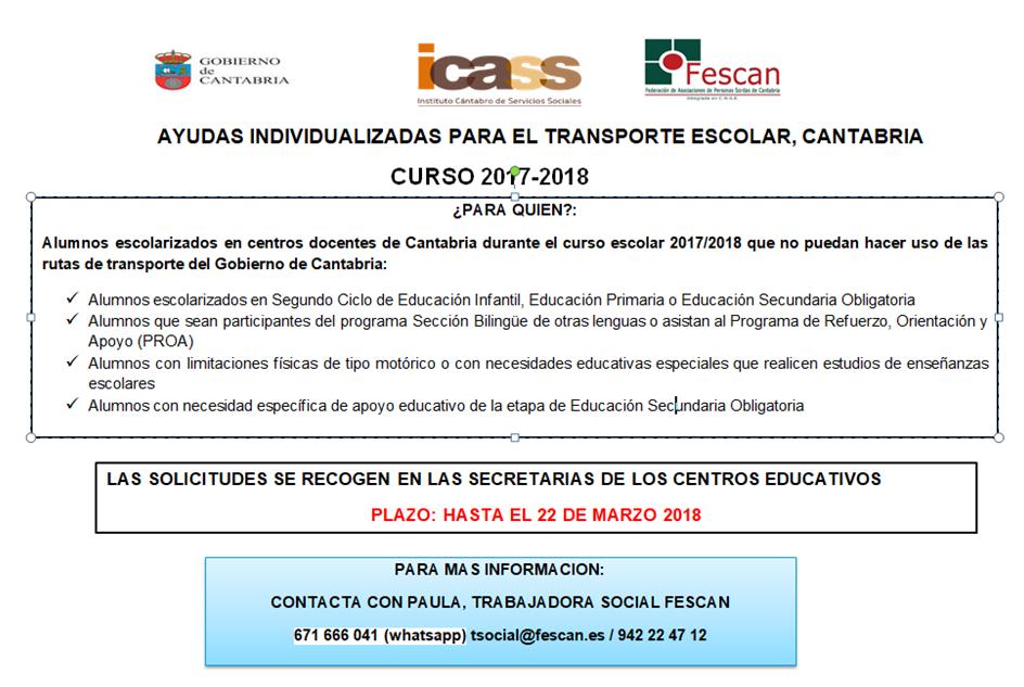 AYUDAS INDIVIDUALIZADAS PARA EL TRANSPORTE ESCOLAR, CANTABRIA 2018
