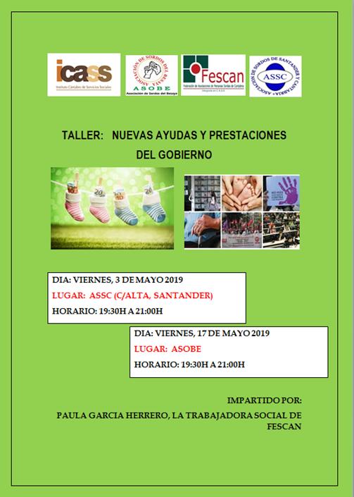 TALLER: NUEVAS AYUDAS Y PRESTACIONES  DEL GOBIERNO