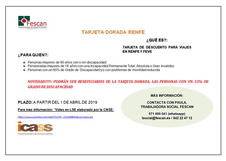 TARJETA DORADA DE RENFE