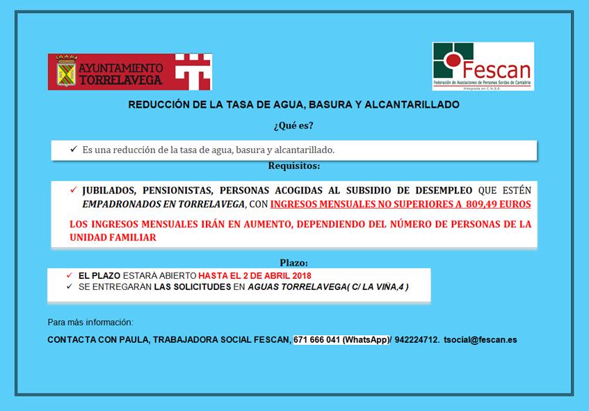 REDUCCIÓN DE LA TASA DE AGUA, BASURA Y ALCANTARILLADO EN TORRELAVEGA