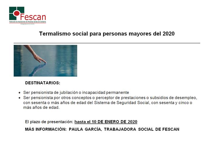 PROGRAMA TERMALISMO DEL GOBIERNO DE CANTABRIA 2020
